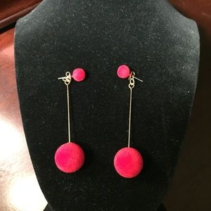 Red velvet ball drop earrings